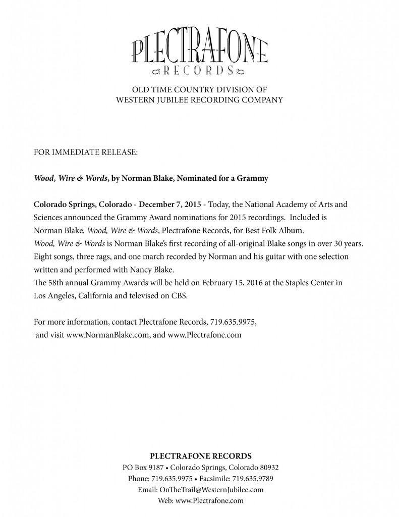 Norman Blake Grammy Press Release